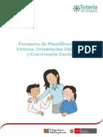 Planificación de La Tutoría, Orientación Educativa y Convivencia Escolar