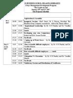 MDP Schedule