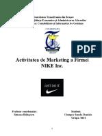 Activitatea de Marketing a Firmei NIKE Inc