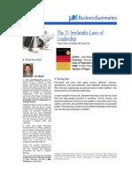 Summary - The 21 Irrefutable Laws of Leader