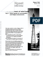 BRE Assessment of Wind Loads Wind Speeds for Serviceability and Fatigue Assessments Part 7