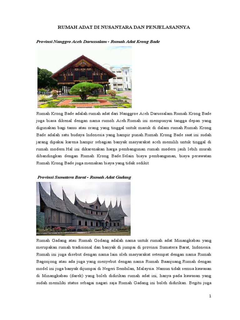 Rumah Adat Di Nusantara Dan Penjelasannya