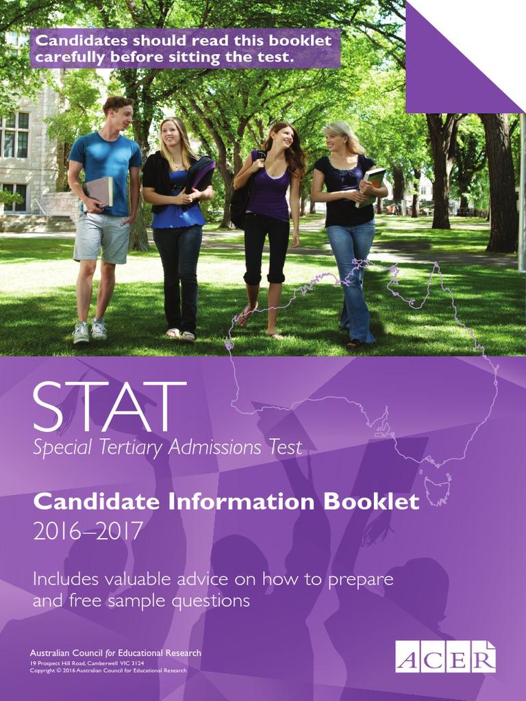 Fillable online stat acer edu stat candidate information booklet.