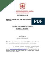 2016 Imperadores Regulamento Festival de Sambas Enredo