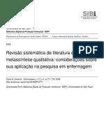 Revisao Sistematica de Literatura e Metassintese Qualitativa