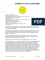 Notice and Warning to Utility Companies
