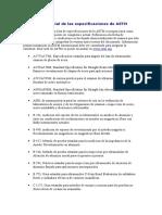 Lista Parcial de Las Especificaciones de ASTM