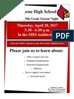ohs flyer rising 9th grade parent night 2017