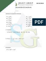 Evaluacion de Salida #1 - Leyes de Signo - Multiplicacion - Potencia