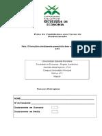 Fichas de Candidatura Ao Doutoramento