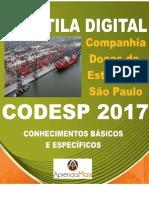APOSTILA CODESP 2017 ANALISTA DE SISTEMAS + BRINDES