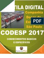 APOSTILA CODESP 2017 ADMINISTRADOR + BRINDES
