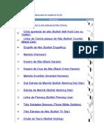 Tabela de Códigos Das Formações de Candles de ALTA