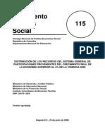 Conpes 115 Distribución de los recursos del SGP