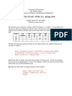 OPIM101 - Spring 2009 - Exam 1 - Solutions
