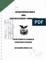 Plan de Estudio de La Licenciatura en Psicologia- UMA