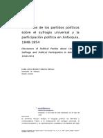 Discursos de Los Partidos Políticos Sobre El Sufragio Universal y La Participación Política en Antioquia