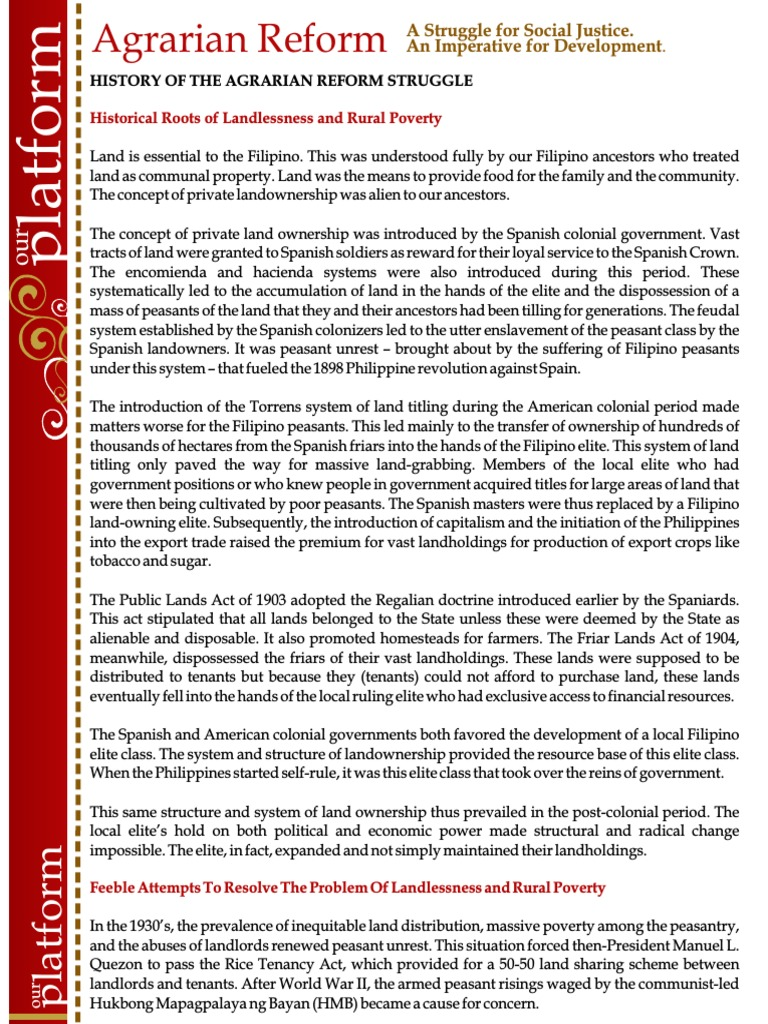 agrarian reform summary This document provides a summary of a scoping study of land reform undertaken by the authors for dfid nepal it comprises an overview, a summary of general conclusions and summaries of main findings from each of the four chapters of the volume two summary tables are also provided the full volume.