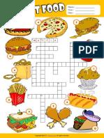 Fast Food Esl Vocabulary Crossword Puzzle Worksheet for Kids
