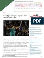 Nadal Powers Past Fognini Into Miami Open Final - Tennis