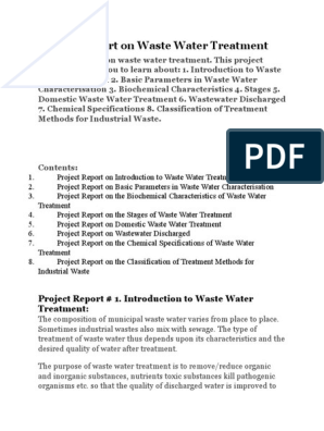 Project Report on Waste Water Treatment | Sewage Treatment | Wastewater