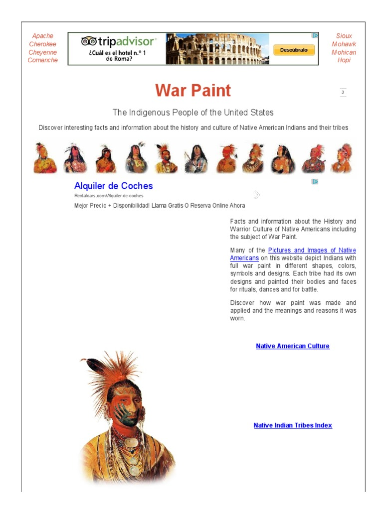 War Paint Meanings Native Americans In The United States Paint