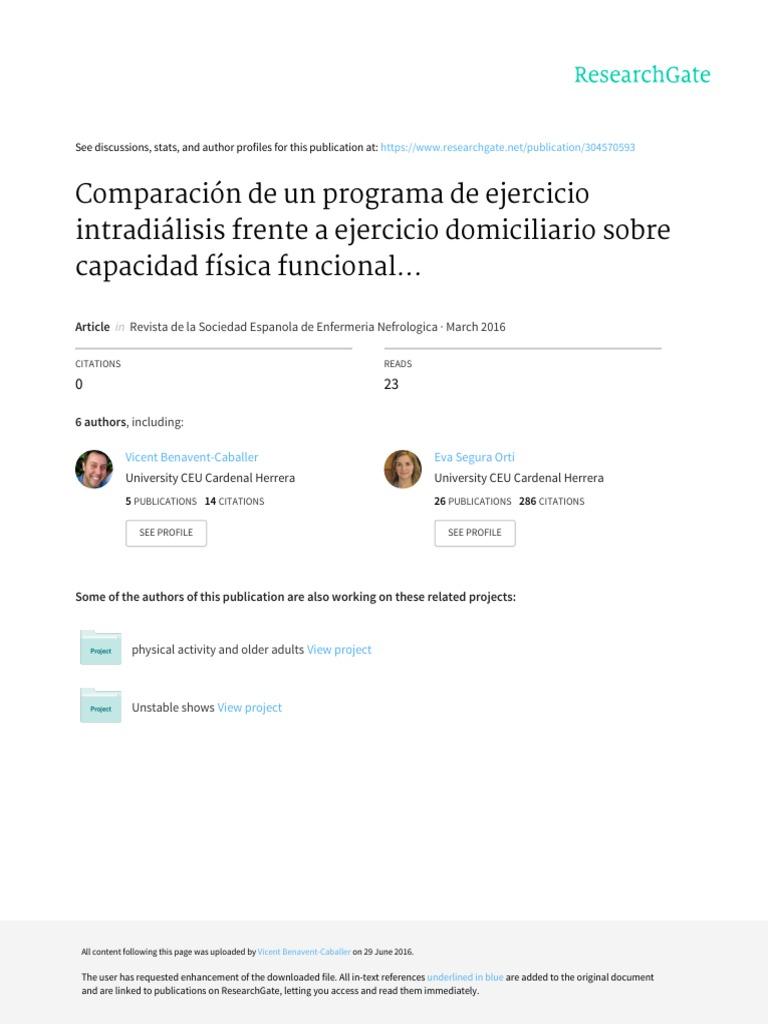 2016) Comparación de Un Programa de Ejercicio Intradiálisis Frente a ...