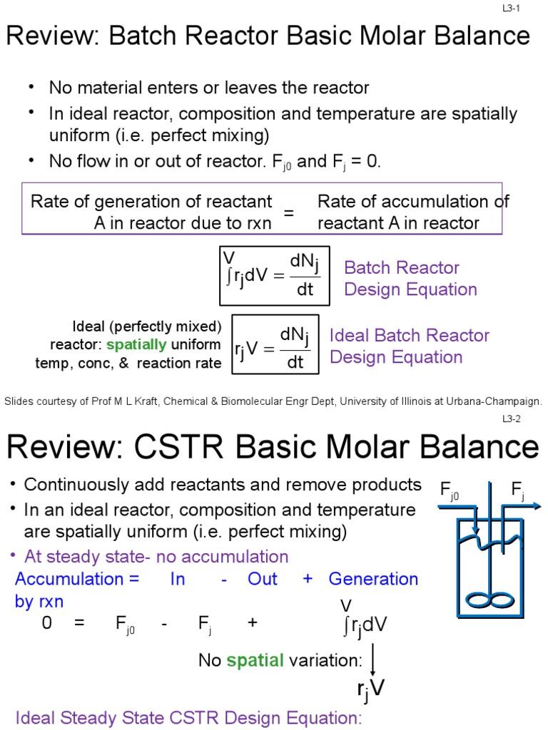 L Conversion And Reactors In Series Chemical Reactor Catalysis - Cstr reactor design