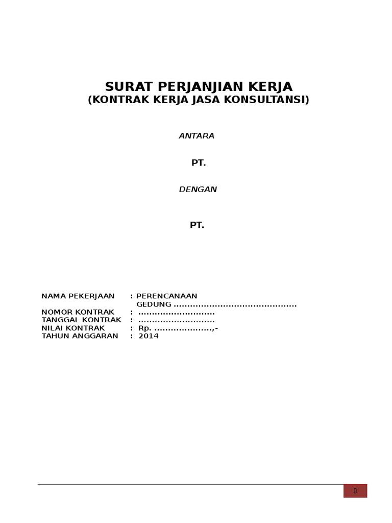 Surat Perjanjian Kerja Kontrak Kerja