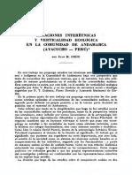 Ossio Acuña, Juan M. (1978) Relaciones interétnicas y verticalidad ecológica en la comunidad de Andamarca, Ayacucho