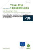 Institutionalizing Gender in Emergencies: Case study of South Sudan