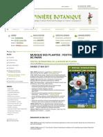 27 & 28 Mai - Musique Des Plantes _ Festival International de Paris - Blog de Pépinière Botanique
