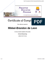 clinical reasoning certificate