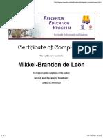giving and receiving informal feedback certificate