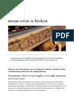 Break-even is Broken - AusIMM Bulletin