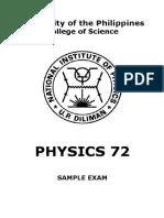 Physics 72 Sample Exam