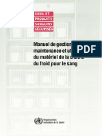 Manuel de Gestion Et de La Maintenance Du Matériel de Sang