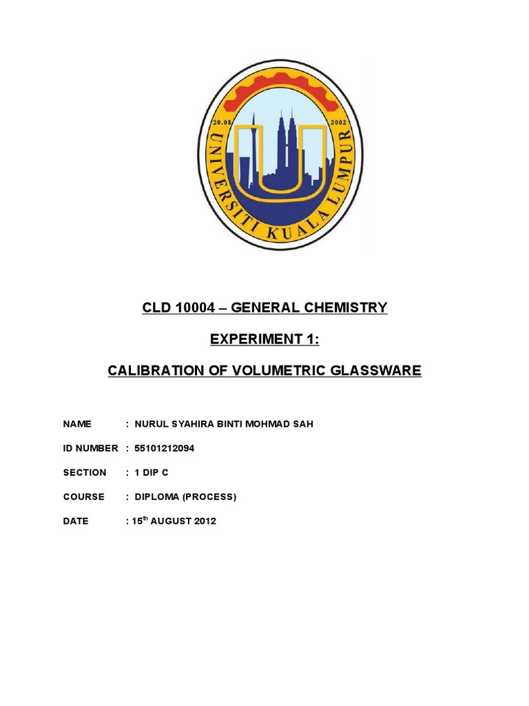 calibration of volumetric glassware lab report conclusion