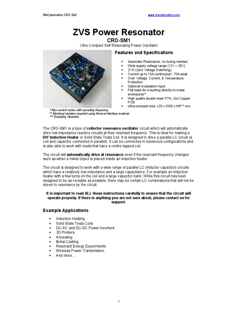 Zvc Power Resonator Inductor Capacitor Induction Heater Circuits