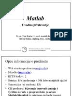 Matlab - Uvodno Predavanje 2017