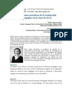 Aplicaciones Prácticas de La Traducción Pedagógica en La Clase de ELE