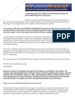 2013 Crowdfunding Bootcamp Sponsorship Packages Welcome Letter