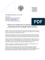 Oregon Sues Country Wide Over Pension Fund Losses