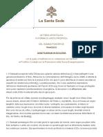 Papa Francesco Motu Proprio 20170211 Sanctuarium in Ecclesia