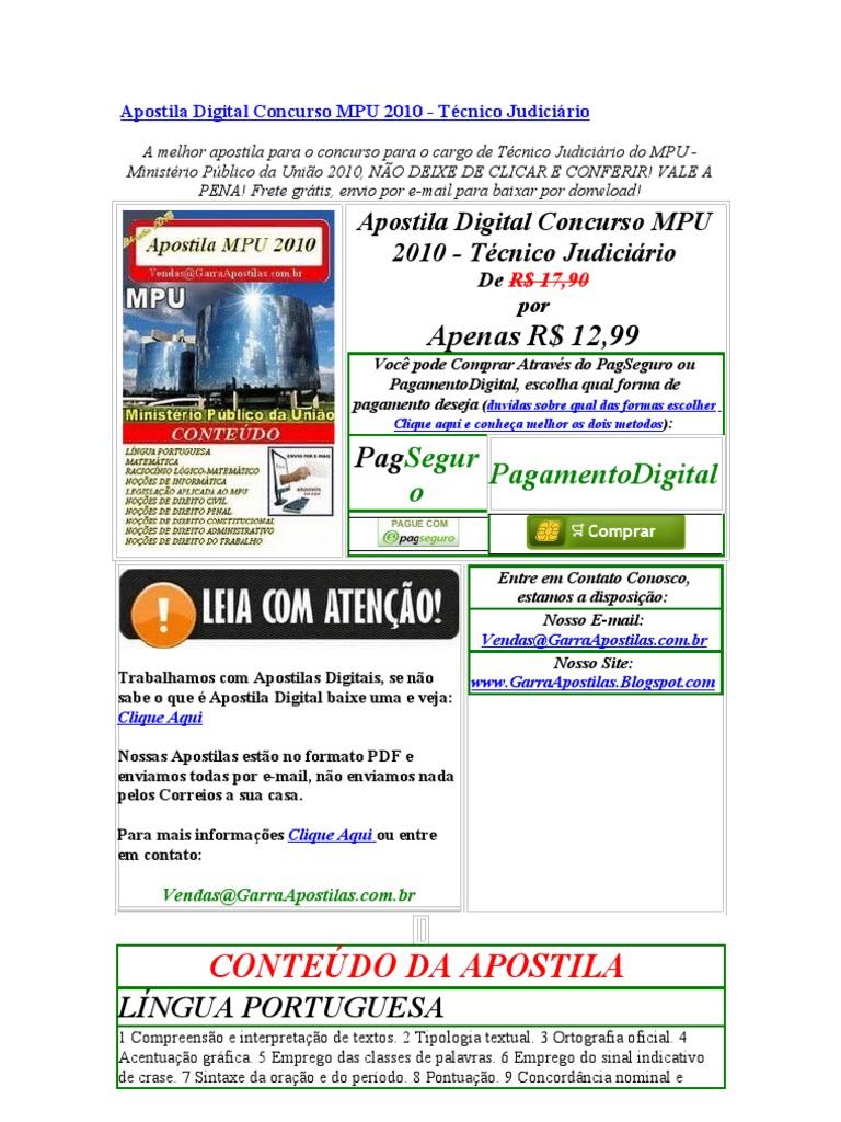 apostila concurso mpu 2010