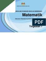 DSKP Matematik Tingkatan 1