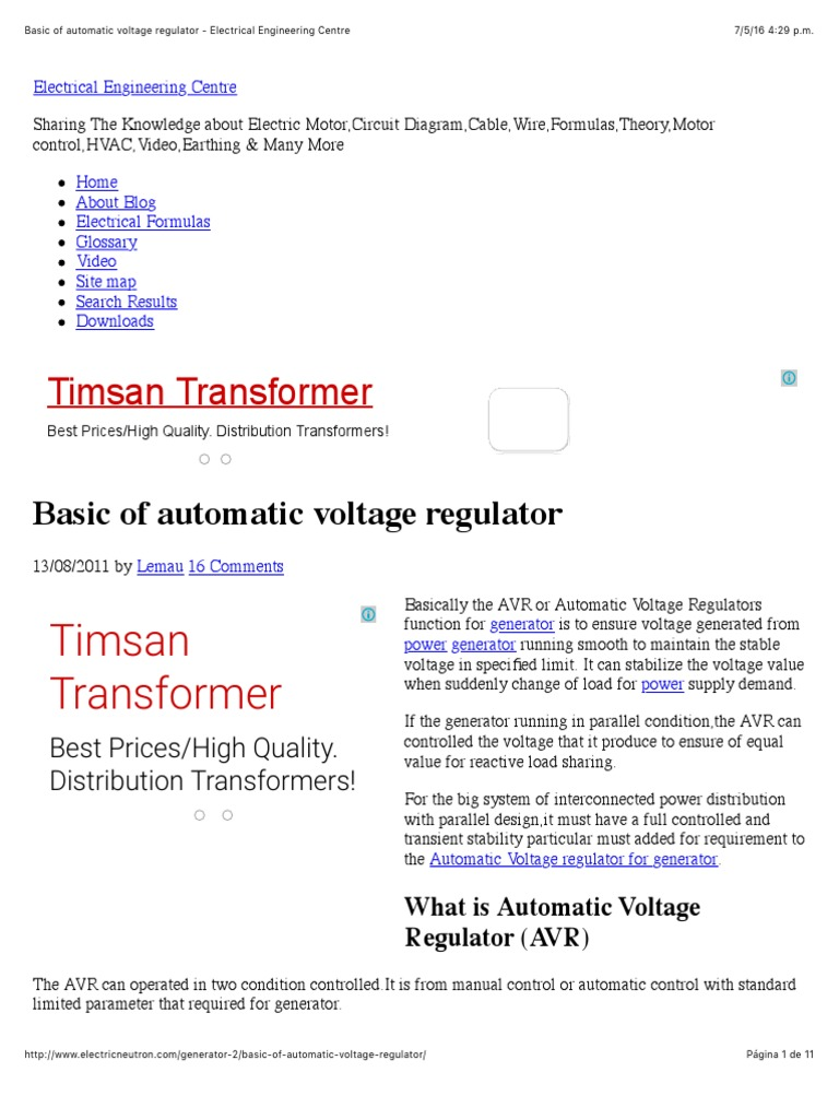 basic of automatic voltage regulator electrical engineering centre