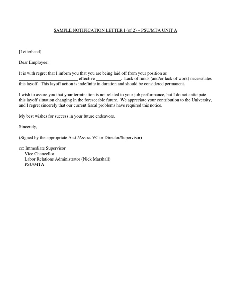 Sample Layoff Letters | Layoff | Employment
