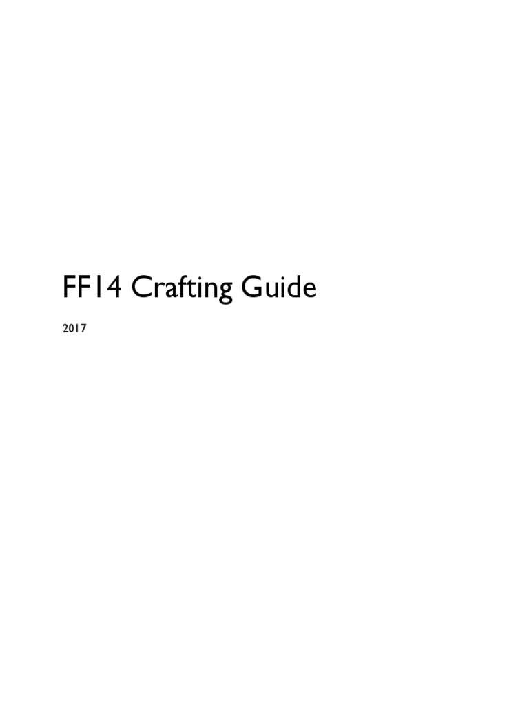FFXIV Crafting Guide | Innovation | Intelligence Quotient