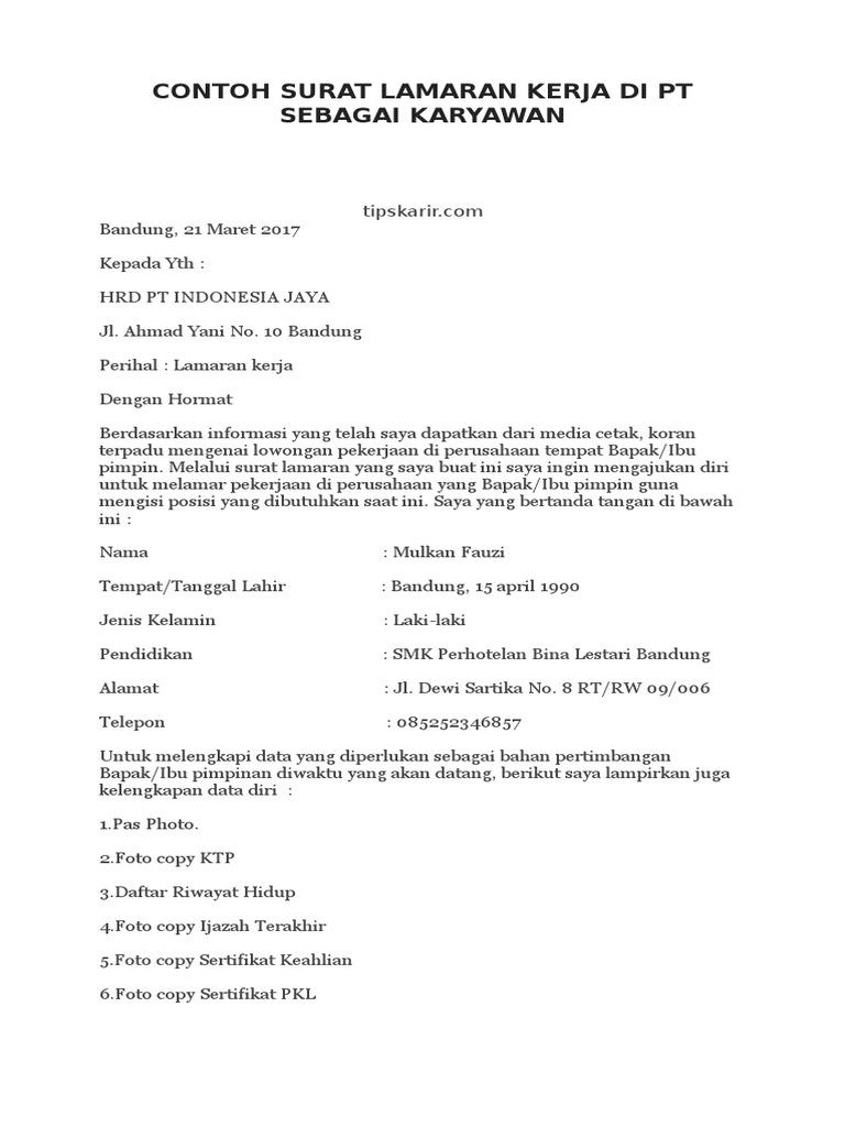 Contoh Surat Lamaran Kerja Di Pt Sebagai Karyawan Pdf